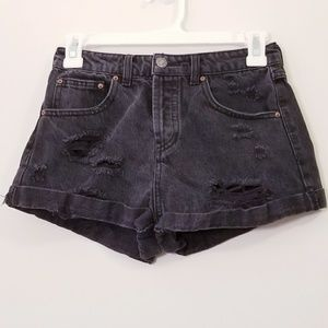Forever 21sz 25 Black Distressed Jean Denim Shorts